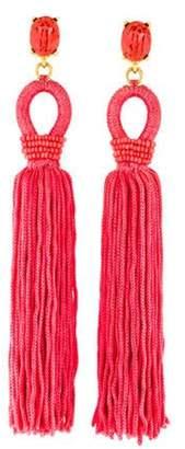 Oscar de la Renta Long Silk Tassel Drop Clip-On Earrings Gold Oscar de la Renta Long Silk Tassel Drop Clip-On Earrings