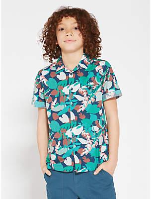 Boys' Short Sleeve Floral Shirt, Green