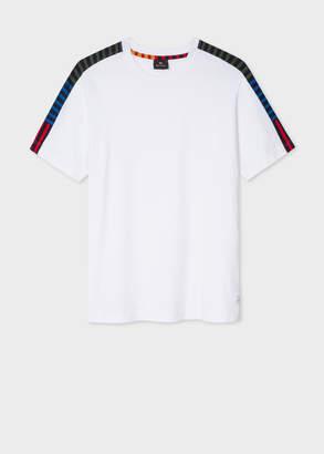 Paul Smith Men's White Cotton T-Shirt With Striped Shoulder Details