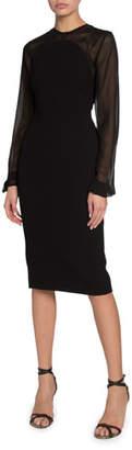 Victoria Beckham Sheer-Sleeve Crepe Illusion Dress