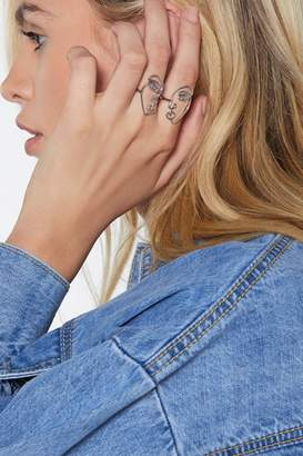 Nasty Gal Face to Face 2-pc Ring Set
