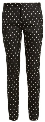 Giambattista Valli Slim Leg Spot Jacquard Twill Trousers - Womens - Black Multi