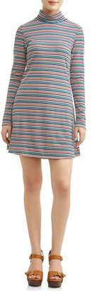 Poof! Juniors' Striped Rib Knit Mock Neck Long Sleeve Skater Dress