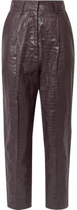 Beaufille Nova Croc-effect Coated-linen Tapered Pants - Plum