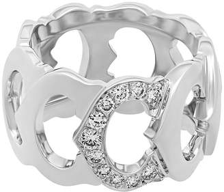 Cartier Estate 18K White Gold Diamond C Ring Size 5.75