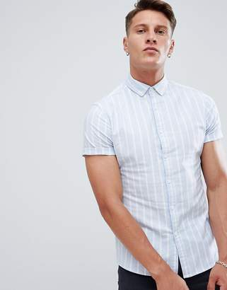 Asos DESIGN skinny oxford stripe shirt in blue