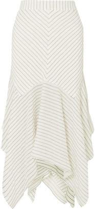 Ganni Wilkie Striped Silk And Cotton-blend Seersucker Midi Skirt - Off-white