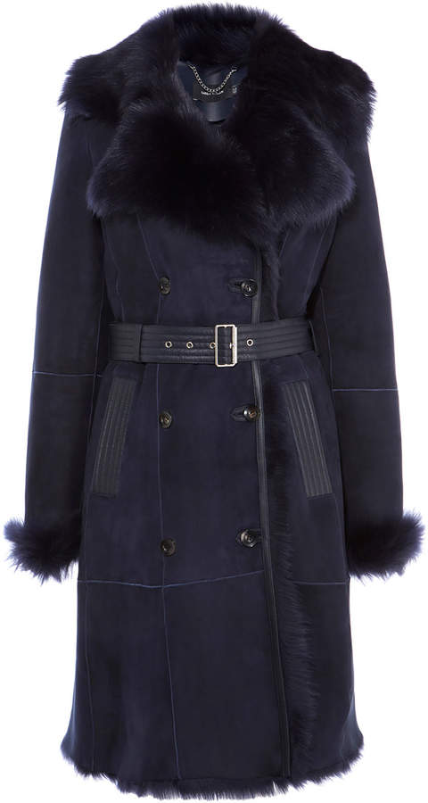 Belted Sheepskin Layer Coat