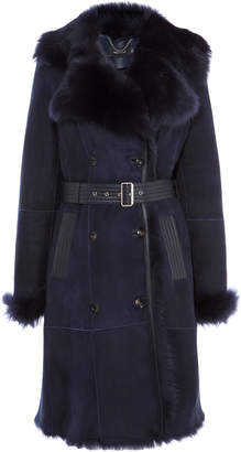 Karen Millen Belted Sheepskin Layer Coat