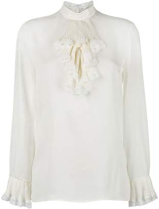 Gucci georgette and lace trim blouse