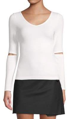 Helmut Lang Cut-Out Long-Sleeve Top