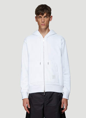 Thom Browne Rear Striped Hooded Sweatshirt in White