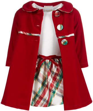 Blueberi Boulevard Baby Girls 2-Pc. Coat & Plaid Dress Set