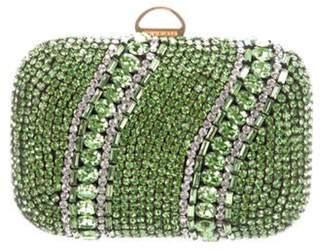 Sergio Rossi Embellished Satin Clutch Green Embellished Satin Clutch