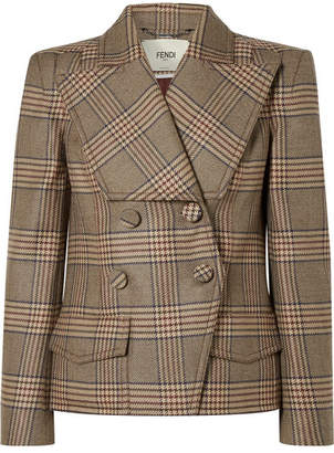 Fendi Double-breasted Prince Of Wales Checked Wool Jacket - Brown