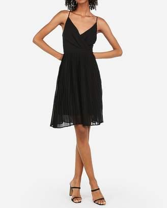 Express Pleated Surplice Front Midi Dress