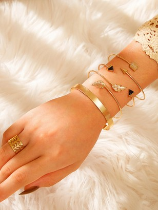 Shein Leaf Decor Bangle Bracelet & Ring 5pcs