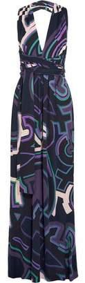 Emilio Pucci Printed Jersey Halterneck Maxi Dress