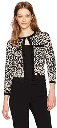 Anne Klein Women's Animal Print Sweater Cardigan
