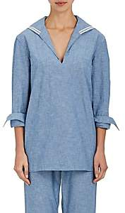 Sleepy Jones SLEEPY JONES WOMEN'S FRANCINE SAILOR CHAMBRAY PAJAMA SHIRT-BLUE SIZE S