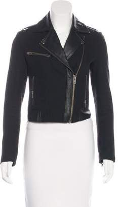 Joie Faux Leather-Trimmed Zip-Up Jacket