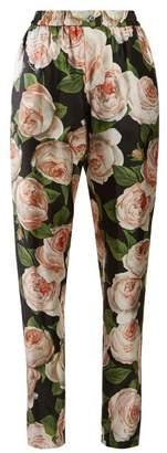 Dolce & Gabbana Rose Print Silk Trousers - Womens - Black Pink