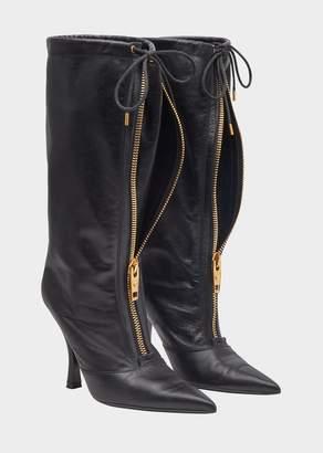 Versace High Heel Front Zip Boots
