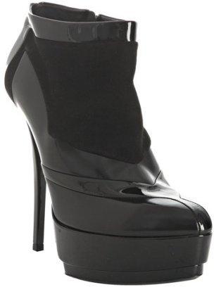 Gucci black leather patchwork platform booties