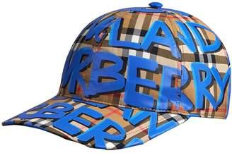 Burberry (バーバリー) - Burberry Graffiti Print Vintage Check Baseball Cap