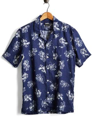 Todd Snyder Short Sleeve Linen Floral Camp Collar Shirt in Navy