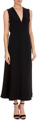 Victoria Beckham V-Neck Midi Back-Slit Dress