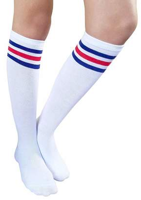 ddcd6f4d9a6 Q Y Women s Casual Solid Knee High Tube Socks Triple Stripe Socks White Blue
