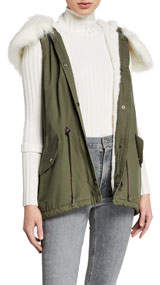 Love Token Faux Fur Cargo Vest