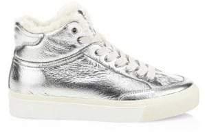 Rag & Bone Rag& Bone Rag& Bone Women's Army Shearling-Lined Metallic Platform Sneakers - Silver - Size 36 (6)