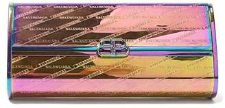 Balenciaga Bb Hard Logo Embossed Iridescent Leather Clutch - Womens - Multi