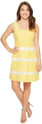 Adrianna Papell Petite Lemon Drop Jacquard Fit and Flare Dress Women's Dress