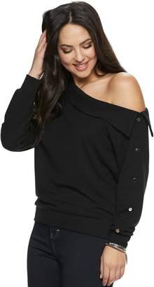 540dc95825496d JLO by Jennifer Lopez Women s Off-Shoulder Snap Sweatshirt