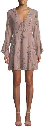 Astr Crystal Floral-Print Mini Peasant Dress
