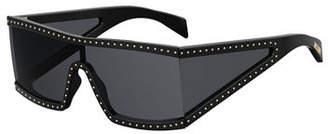 Moschino Acetate Shield Sunglasses w/ Stud Trim