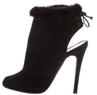 Giambattista Valli Suede Fur-Trimmed Booties