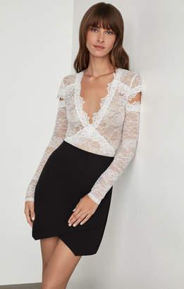 BCBGMAXAZRIA Crisscross Lace Cutout Bodysuit
