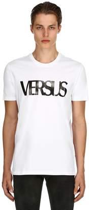 Versus Logo Printed Cotton Jersey T-Shirt
