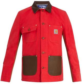 Junya Watanabe X Carhartt Leather Trimmed Cotton Jacket - Mens - Red