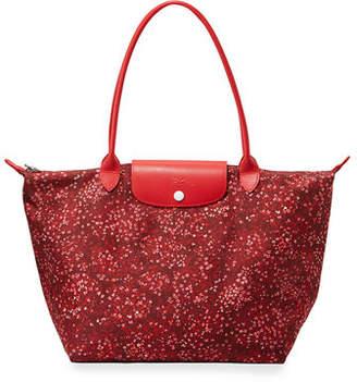 Longchamp Le Pliage Fleur Large Shoulder Tote Bag