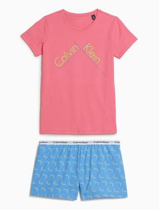 Calvin Klein girls modern cotton short sleeve woven pajama set