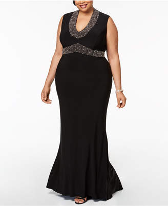 Betsy & Adam Plus Size Beaded Gown