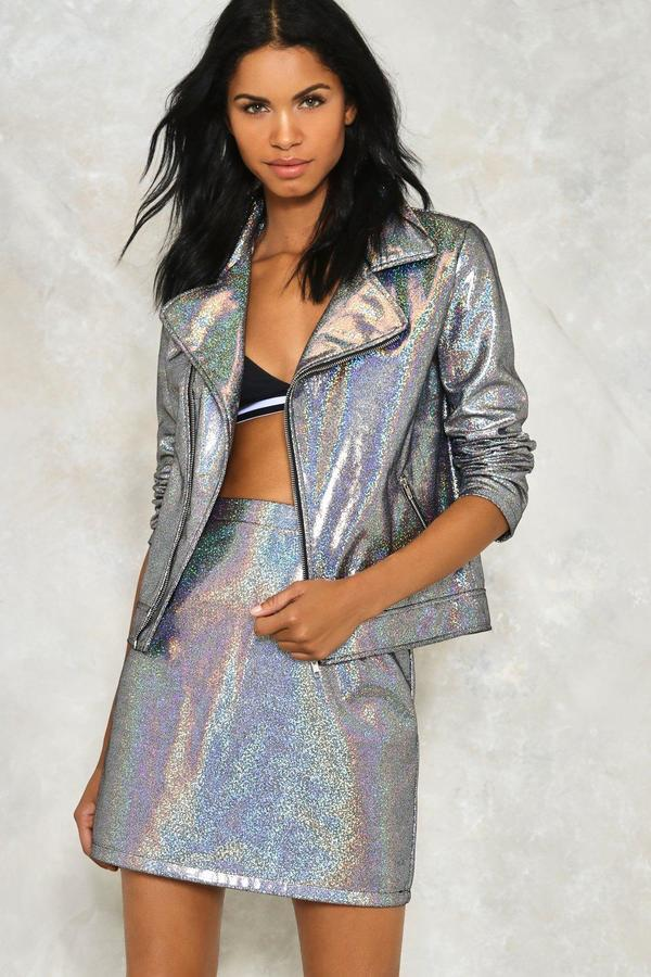 nastygal Dancing Out in Space Holographic Skirt