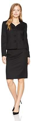 Le Suit Women's Petite Size Jacquard 3 Button Collarless Skirt Suit