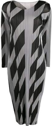 Pleats Please Issey Miyake micro-pleated geometric-print dress
