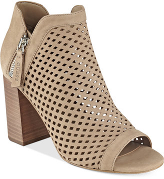 GUESS Women's Oana Perforated Peep-Toe Booties $119 thestylecure.com